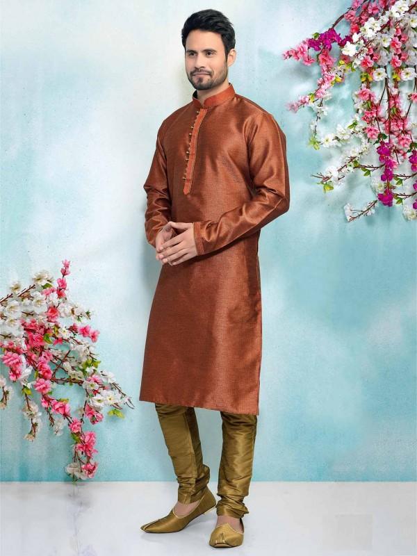 Rust Jacquard,Brocade Silk Men's Designer Kurta Pajama.