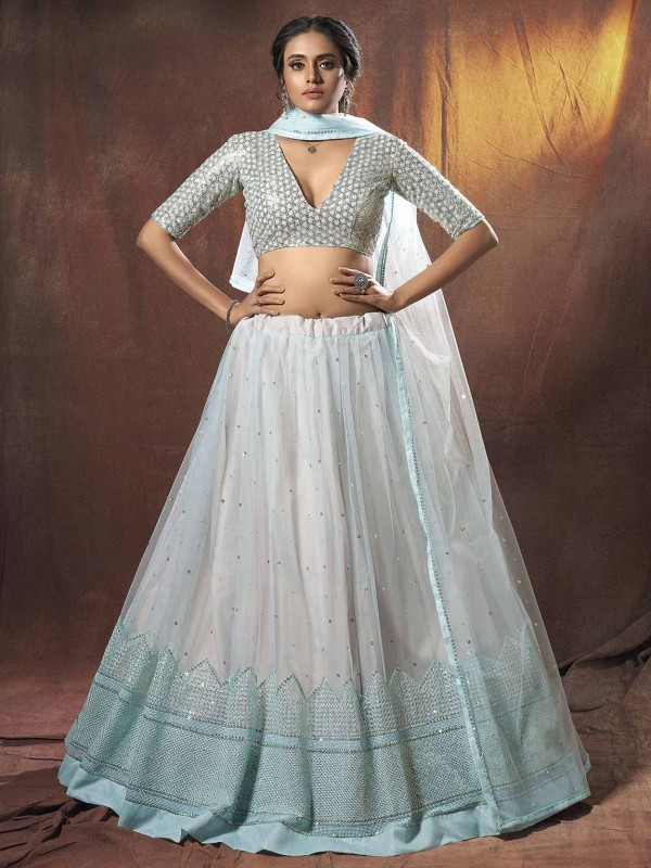 Light Blue Colour Net Lehenga Choli.