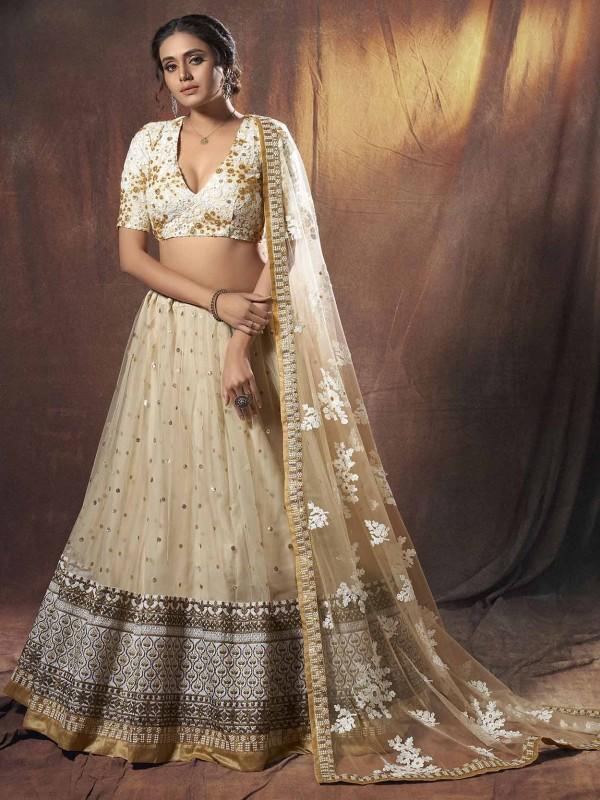 Beige Colour Net Wedding Lehenga Choli.