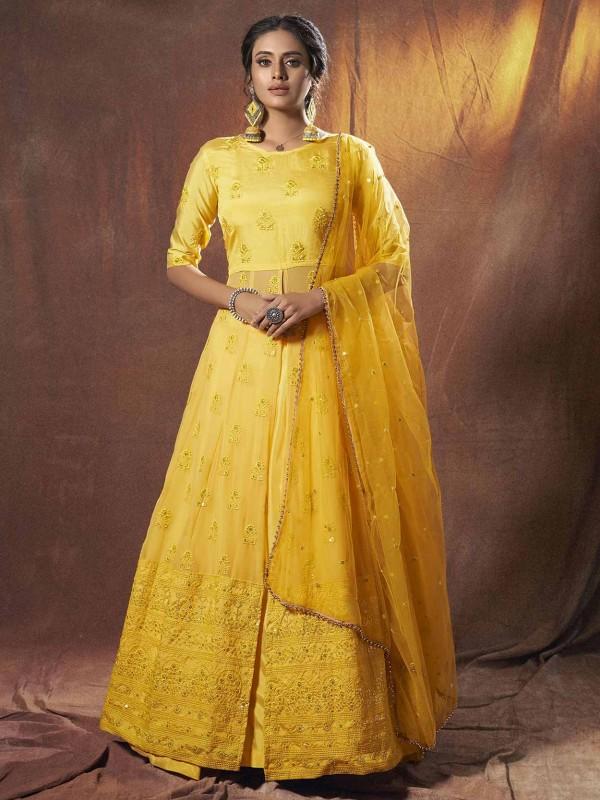 Georgette Wedding Lehenga Choli in Yellow Colour.