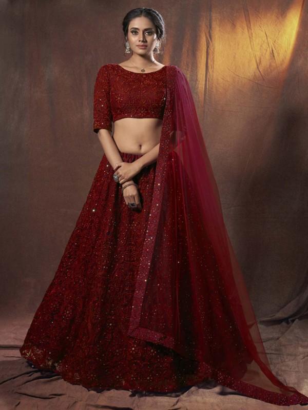 Maroon Colour Net Bridal Lehenga Choli.