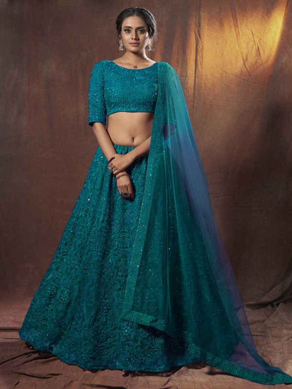 Net Designer Lehenga Choli in Rama Green Colour.