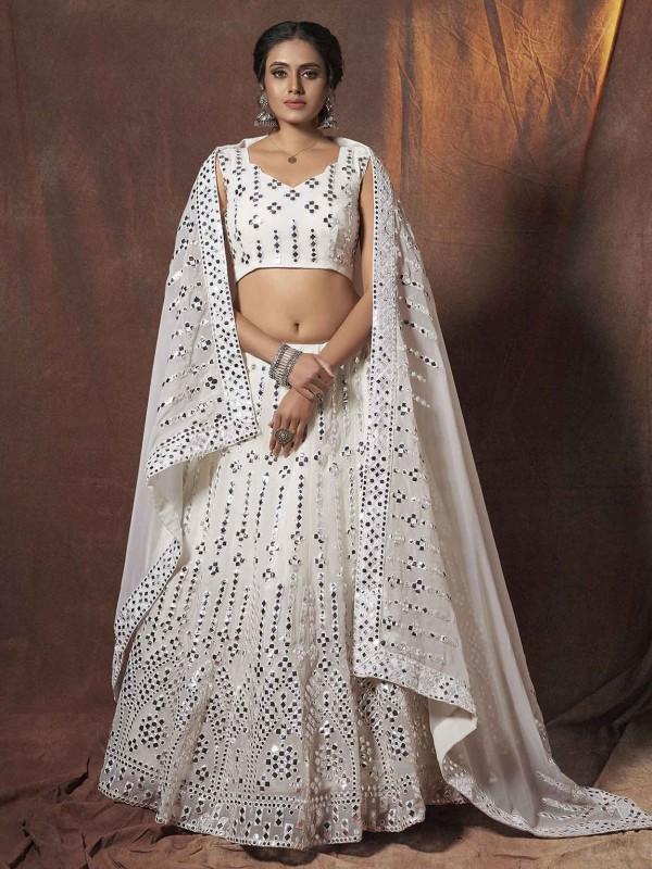 White Colour Georgette Lehenga Choli With Resham,Mirror Work.