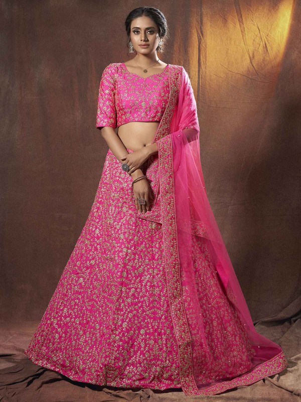 Pink Colour Art Silk Wedding Lehenga Choli.