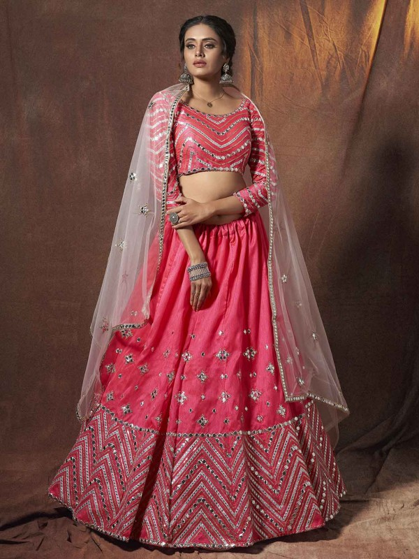Pink Colour Art Silk Traditional Lehenga Choli.