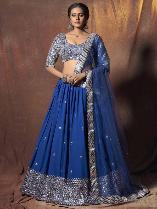 Blue Colour Georgette Lehenga Choli.