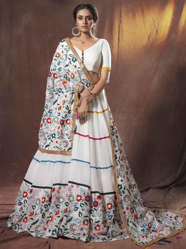 White Colour Georgette Lehenga Choli in Thread Work.