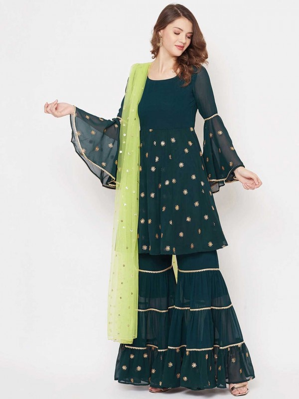 Green Colour Pakistani Style Sharara Salwar Suit in Georgette Fabric.
