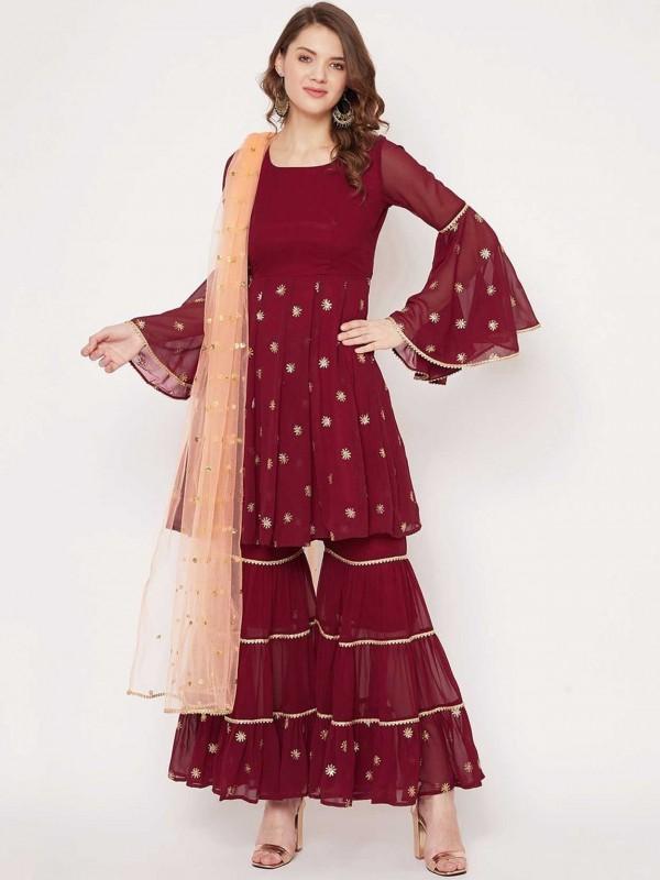Maroon in Georgette Designer Sharara Salwar Suit.