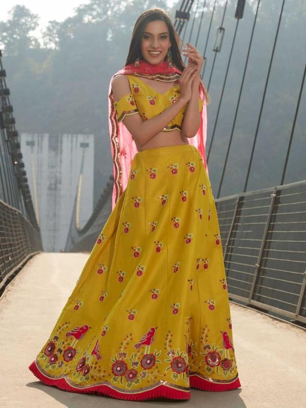 Yellow Colour Satin,Silk Designer Lehenga Choli.
