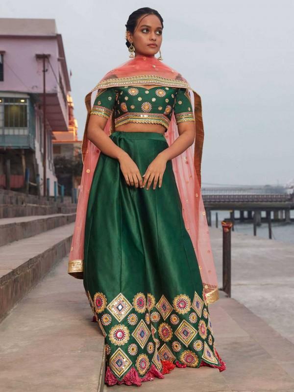 Green in Satin,Silk Women Lehenga Choli with Mirror,Thread Work.