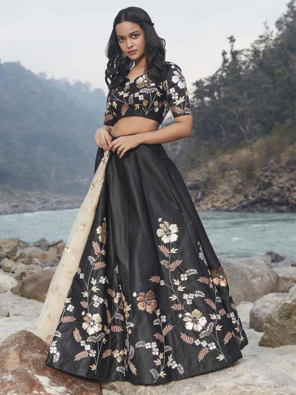 Black Colour Satin,Silk Women Lehenga Choli.