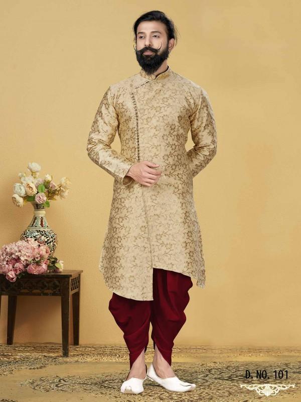 Golden Colour in Jacquard Silk Indowestern Style Kurta.