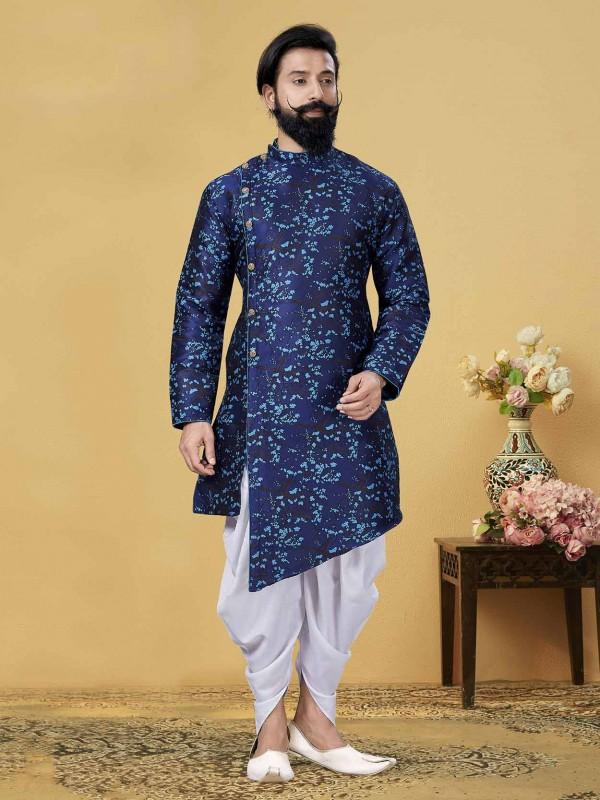 Blue Indowestern Kurta in Silk Fabric.