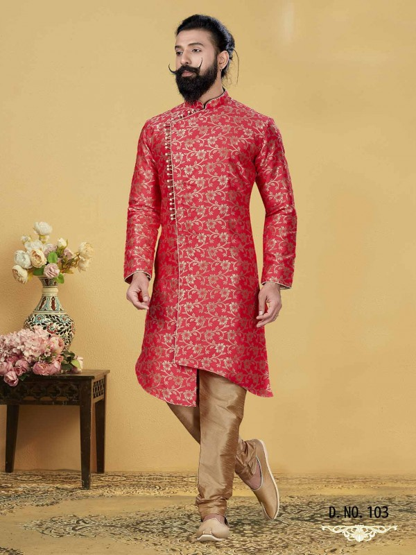 Red Colour in Jacquard Silk Indo Style Kurta.