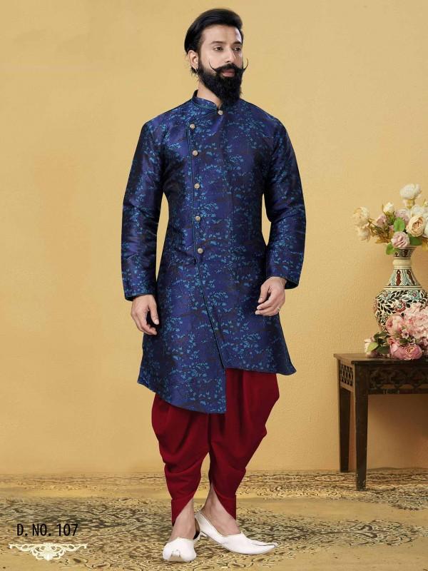 Blue Colour Silk Men Indowestern Style Kurta Dhoti.