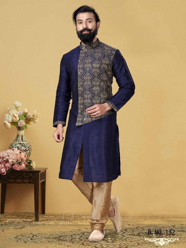 Stylish Designer Kurta Pajama Blue,Golden Colour.
