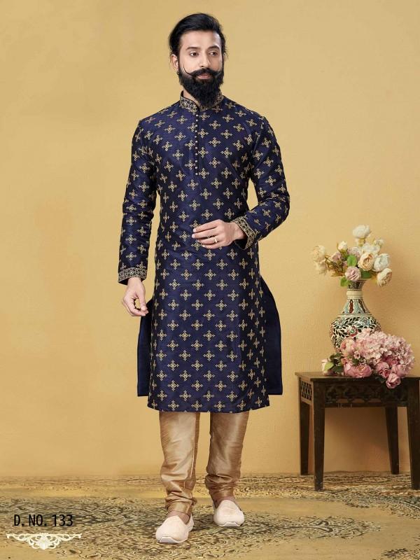 Royal Blue Colour Dupion Silk Party Wear Kurta Pajama.