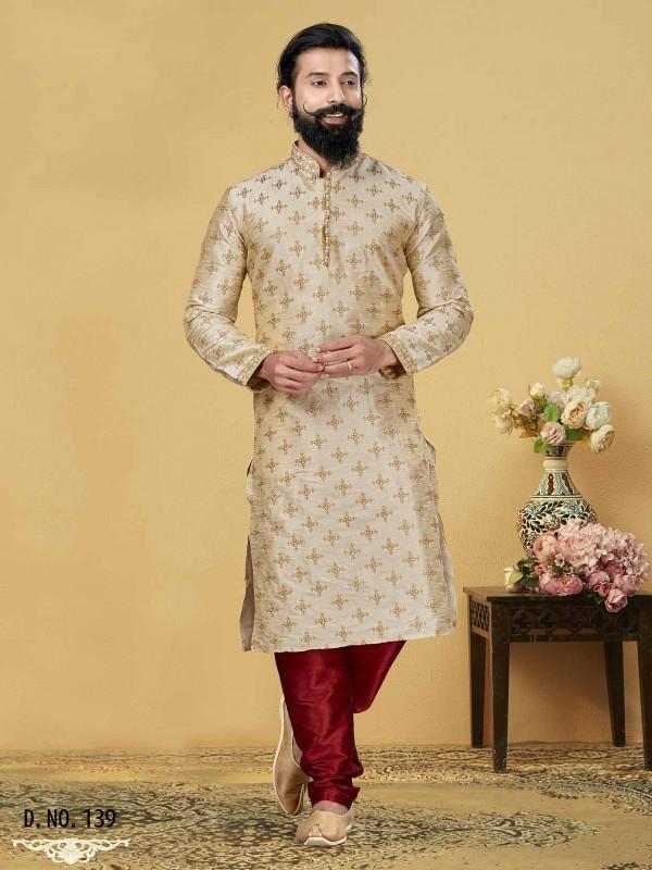 Beige,Golden Colour Dupion Silk Men's Designer Kurta Pajama.