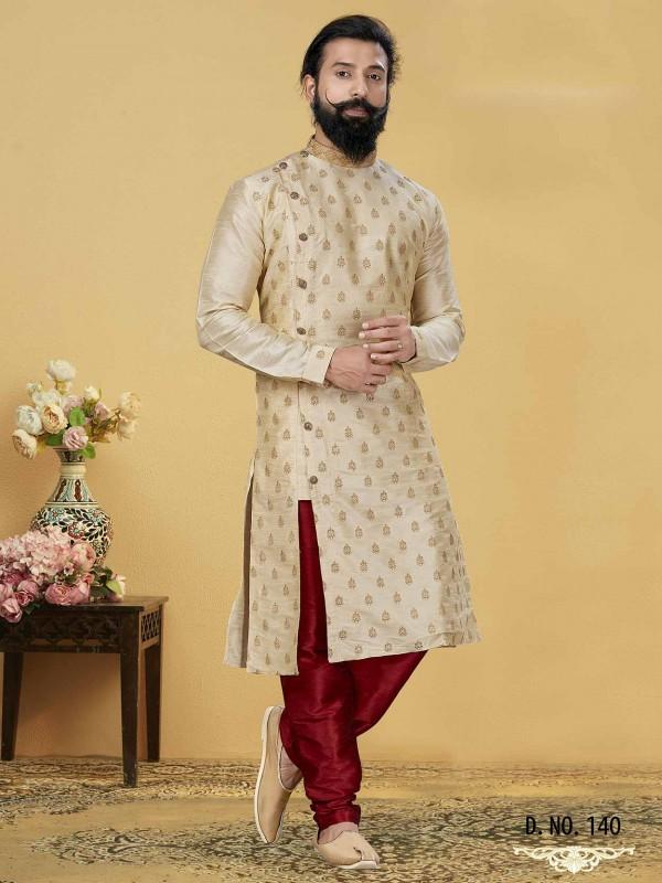 Cream Colour Stylish Designer Kurta Pajama in Dupion Silk Fabric.
