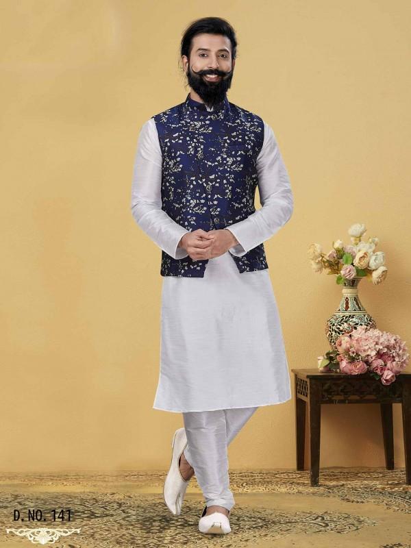 Blue,Off White Colour Silk Kurta Pajama Jacket.