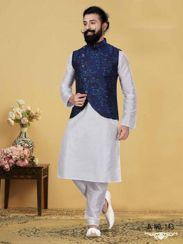Dupion Silk Men's Kurta Pajama Jacket in Blue Off White Colour.