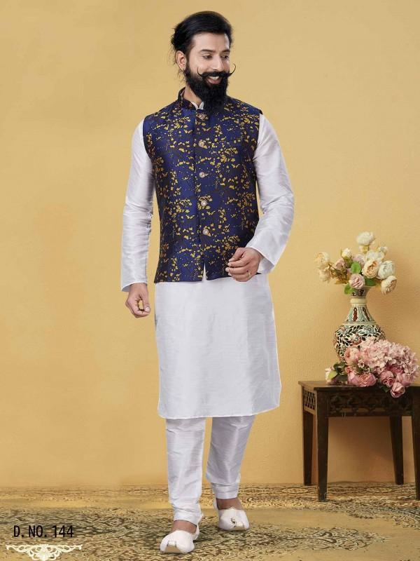 Royal Blue,Off White Colour Designer Kurta Pajama Jacket.