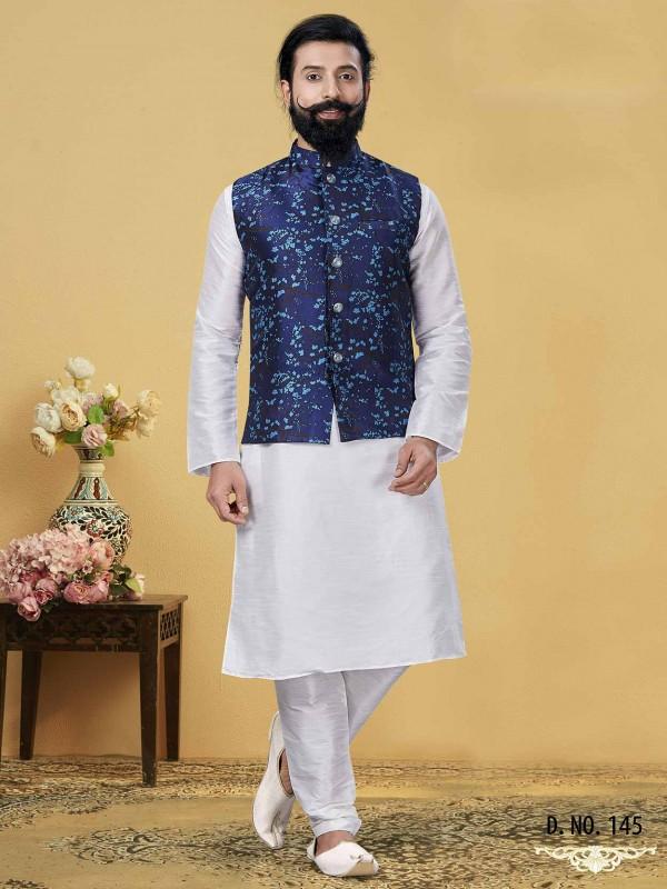 Blue,Off White Colour Dupion Silk Men's Kurta Pajama Jacket.