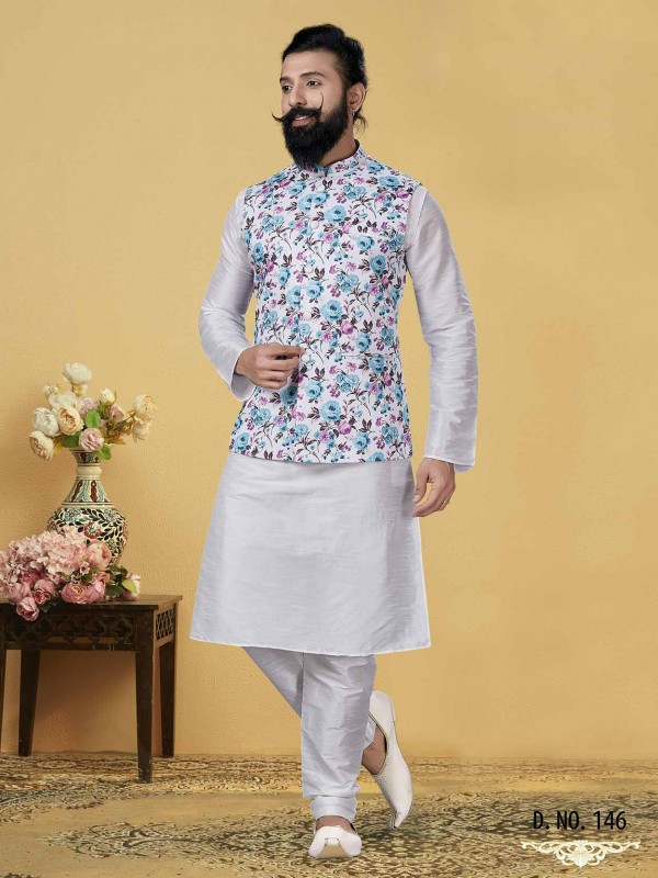 Off White Colour Dupion Silk, Cotton Fabric Men's Kurta Pajama Jacket.