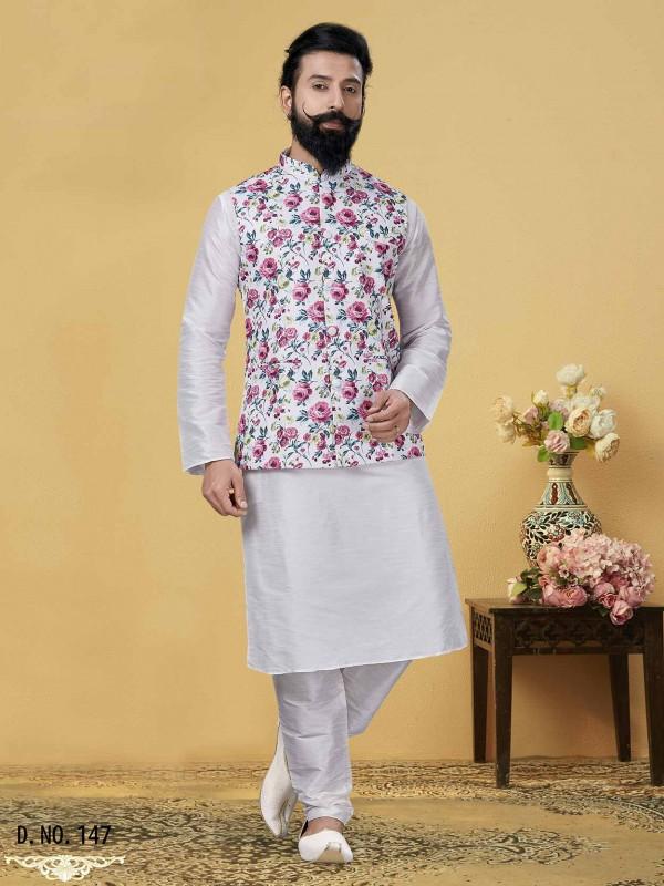 Off White Colour Dupion Silk Printed Jacket Kurta Pajama.