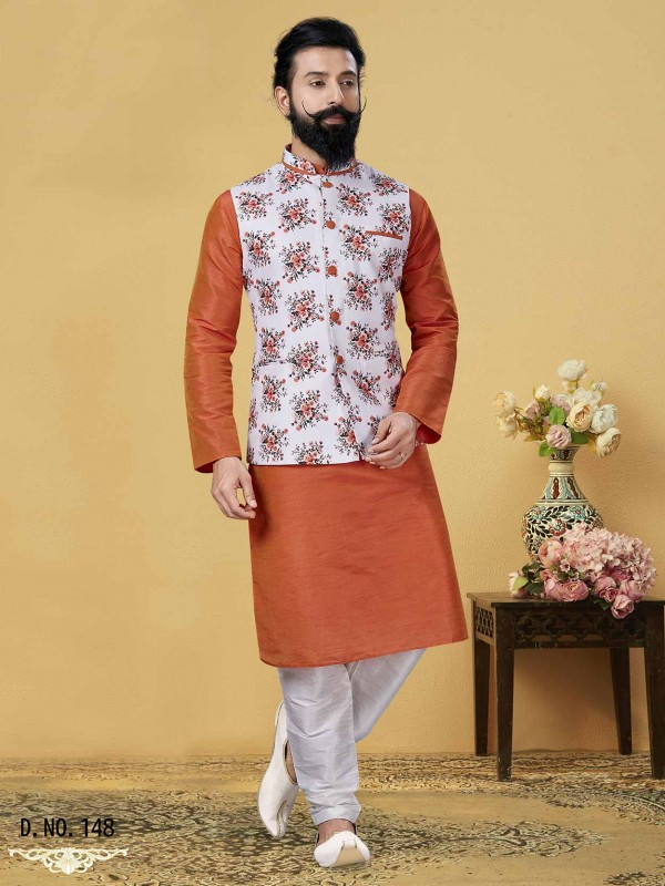 Orange,Off White Colour Designer Kurta Pajama Jacket.