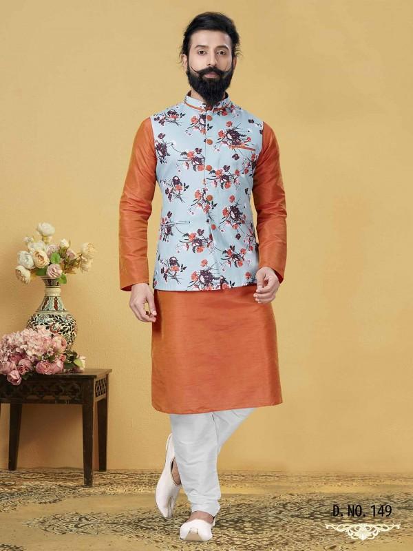 Orange,Sky Blue Colour Men's Kurta Pajama Jacket.
