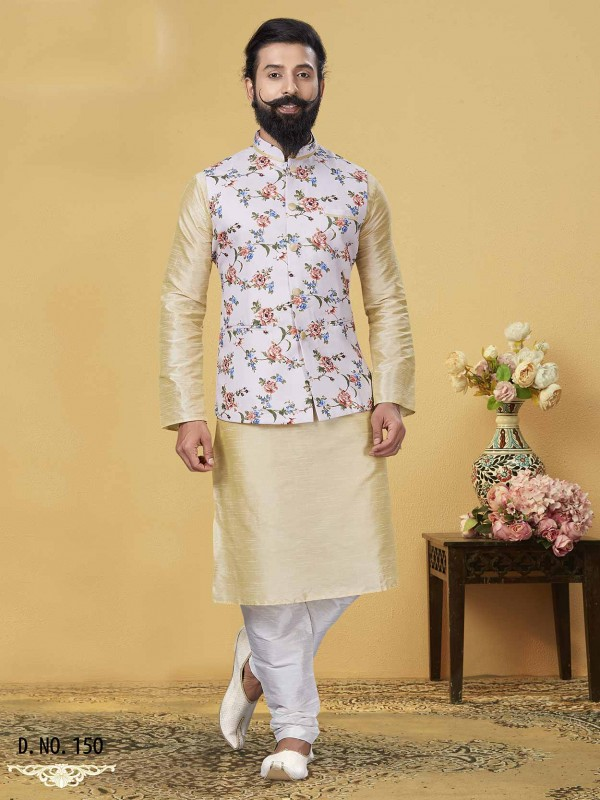 Cream,Off White in Dupion Silk Men's Designer Kurta Pajama Jacket.