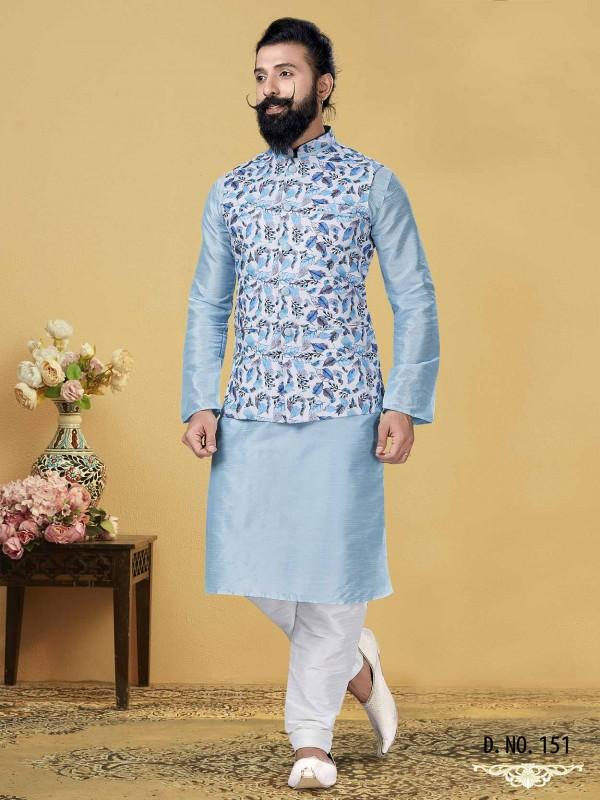 Sky Blue,Off White Dupion Silk Men's Kurta Pajama Jacket.