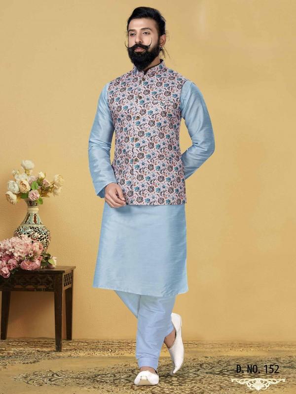 Sky Blue,Pink Colour Dupion Silk,Cotton Kurta Pajama Jacket.