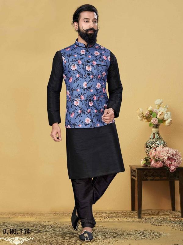 Dupion Silk Party Wear Kurta Pajama in Black,Blue Colour.