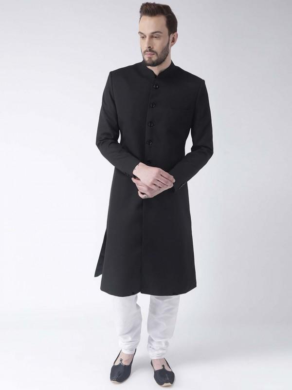 Black Achkan Style Men's Indowestern.