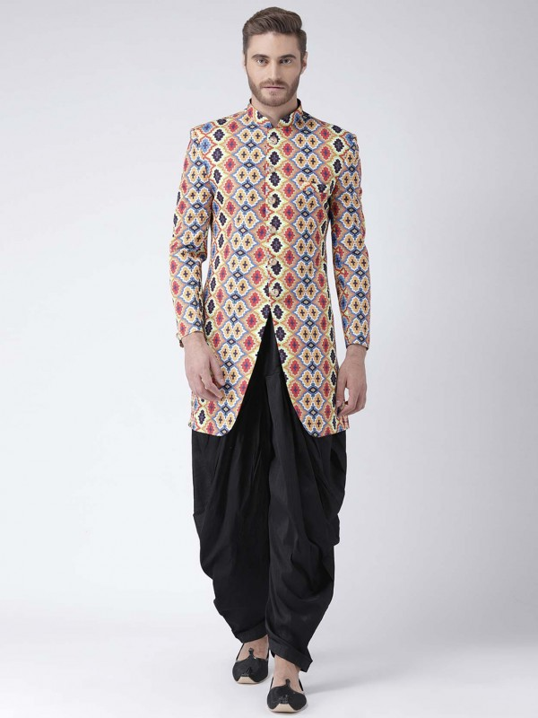 Multi Colour in Viscose Fabric Printed Men's Indowestern.