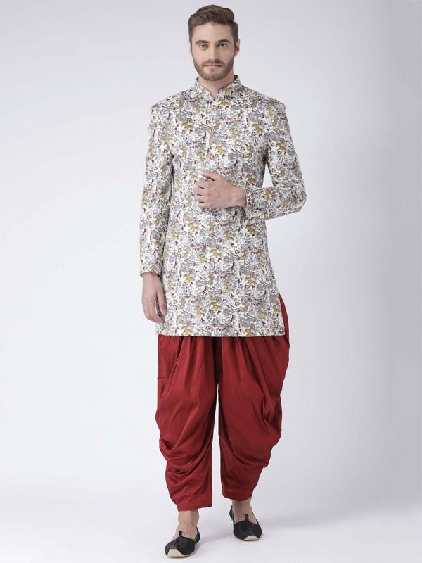 Viscose Fabric Men's Indowestern in Multi Colour.