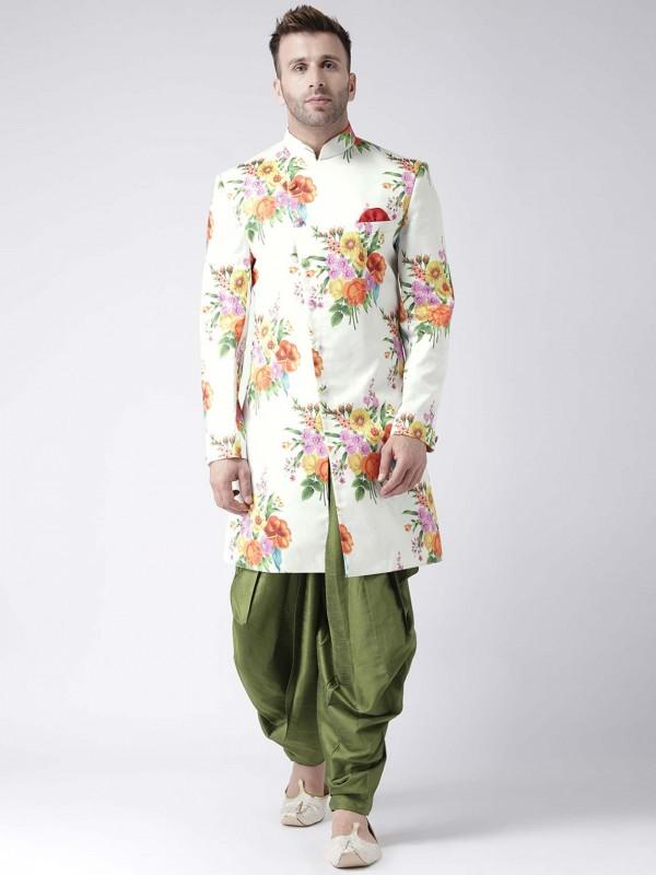 Off White Colour Men's Designer Indowestern.