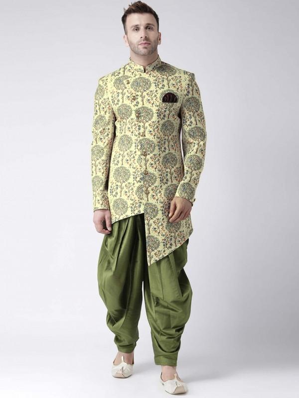 Green,Yellow Stylish Designer Indowestern.