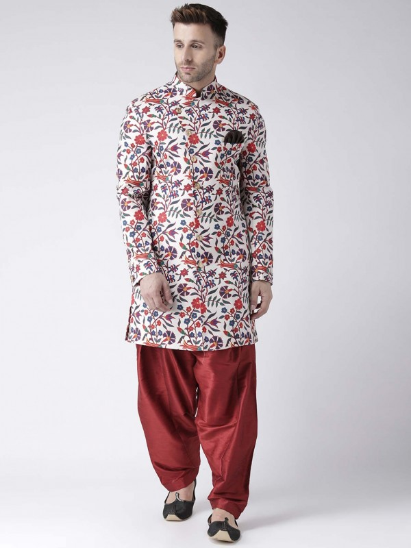 Off White Colour Viscose Fabric Men's Indowestern.