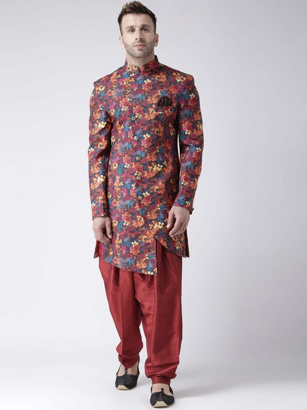 Multi Colour Viscose Fabric Men's Indowestern.