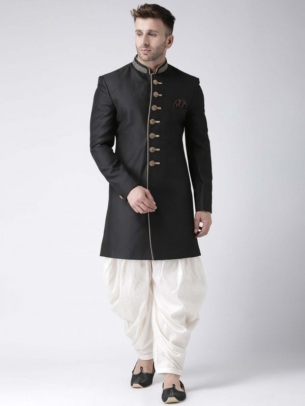 Black Colour Viscose Fabric Party Wear Indowestern.