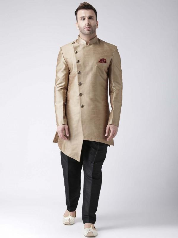 Golden,Beige Colour Viscose Fabric Men's Indowestern.