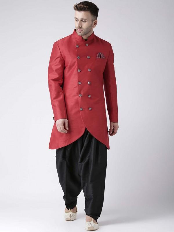 Red Colour in Dupion Silk Men's Designer Indowestern.