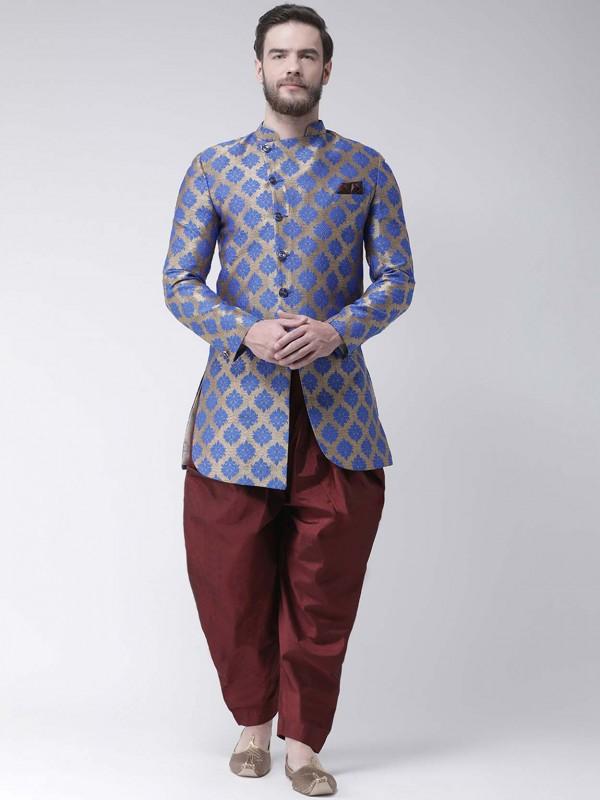 Blue Colour Viscose Fabric Men's Indowestern.