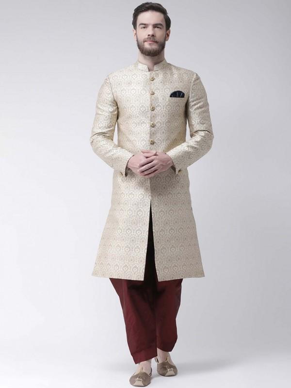 Men's Designer Indowestern Cream Colour.