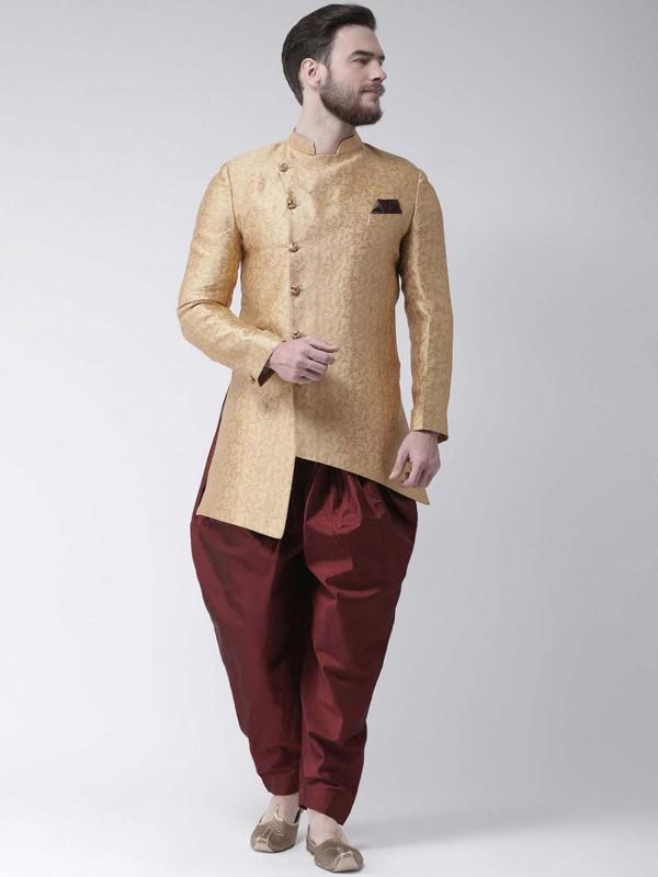 Golden,Beige Colour Jacquard Men's Indowestern.