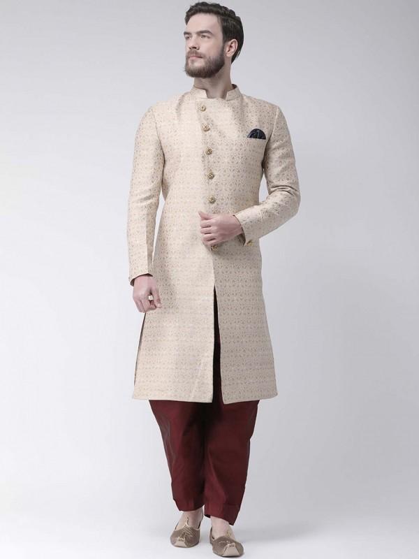 Cream Colour Jacquard Fabric Men's Indowestern.